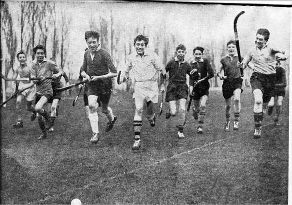 Fourth Formers Playing Hockey