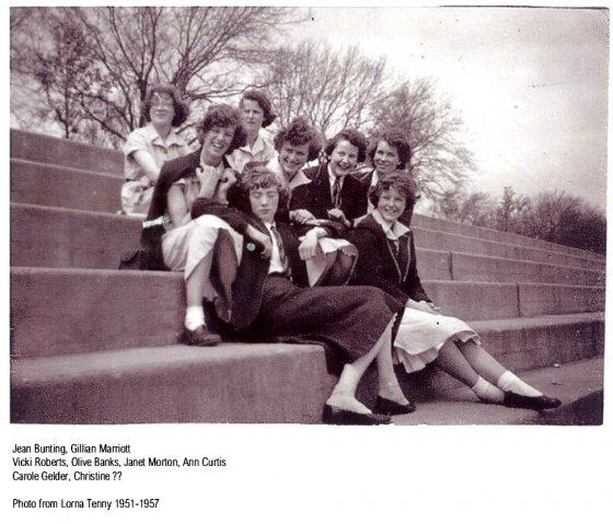 Girls on Embankment Steps
